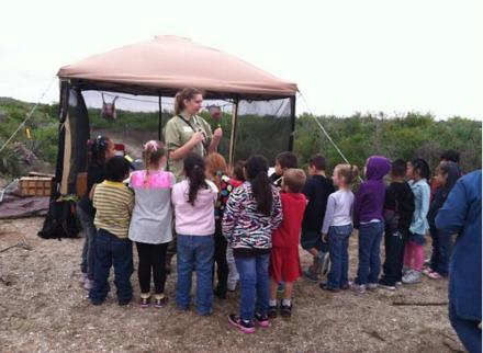 JER giving a bird banding demonstration to a kindergarten class in Texas